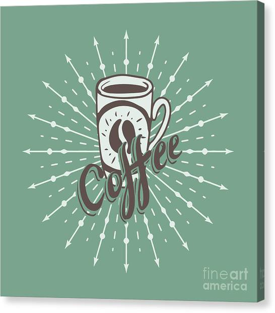 Shop Canvas Print - Hand Drawn Background With Coffee Mug by Ms Moloko