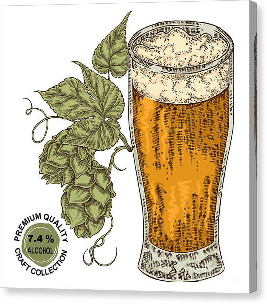 Brewery Canvas Print - Hand Drawn Beer Glass With Hops Plant by Jka