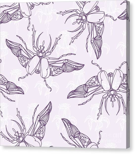 Elegance Canvas Print - Hand Drawn Beetles Seamless Pattern by Olga Donskaya