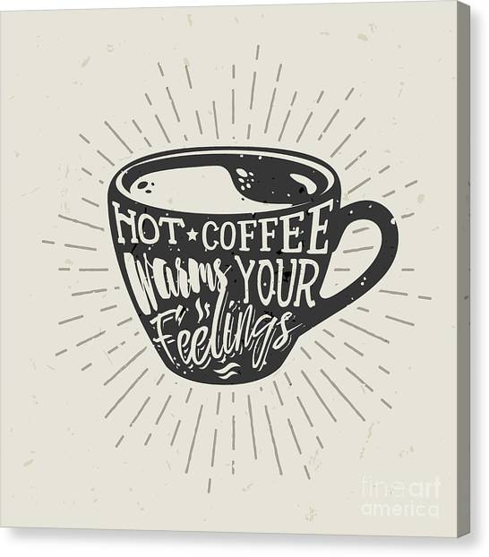 Philosophy Canvas Print - Hand-drawn Cup Of Coffee Silhouette by Genzi