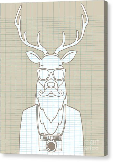 Design Canvas Print - Hand Drawn Hipster Deer In Sunglasses by 9george