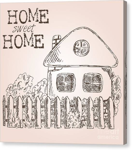 Bricks Canvas Print - Hand Drawn Ink Sketch Home. Village by Valerie Bo