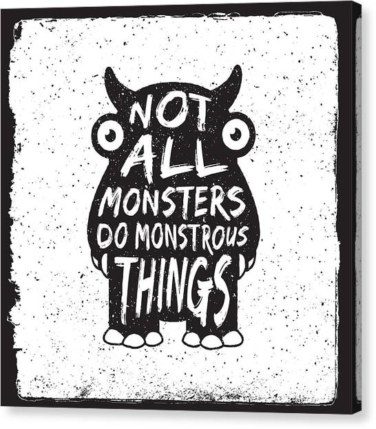 Aliens Canvas Print - Hand Drawn Monster Quote, Typography by Igorrita