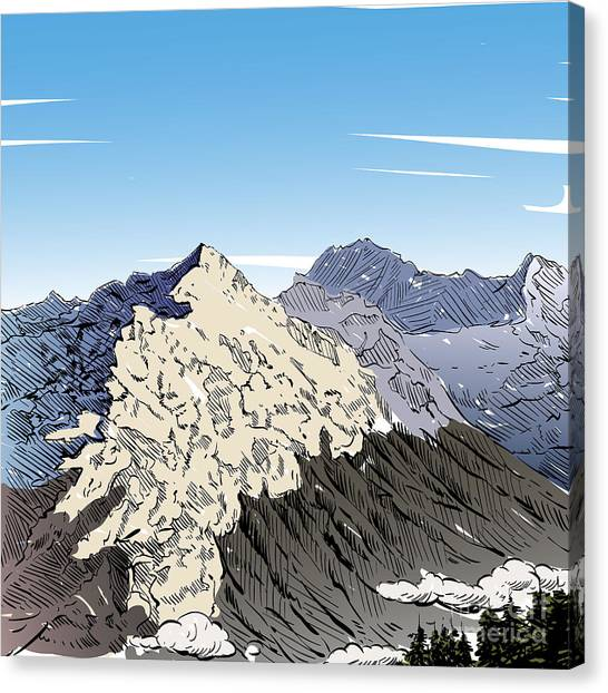 Alps Canvas Print - Hand Drawn Mountain Backgrounds, Vector by Romanya