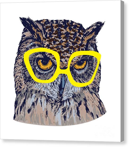 Background Canvas Print - Hand Drawn Owl Face With Yellow by Melek8