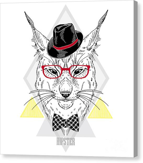 Plaid Canvas Print - Hand Drawn Portrait Of Hipster Lynx In by Olga angelloz