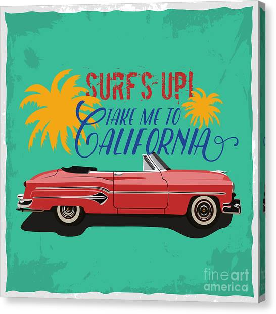 Design Canvas Print - Hand Drawn Retro Car With A Text Take by Heather insane