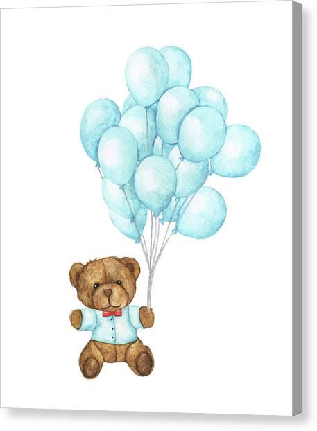 Printmaking Canvas Print - Hand Drawn Watercolor Of Teddy Bear by Khaneeros