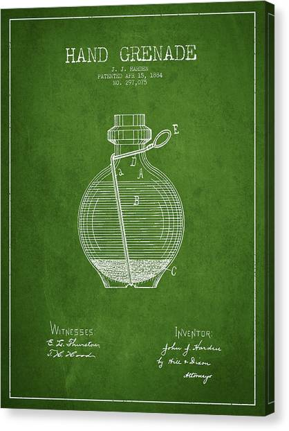Grenades Canvas Print - Hand Grenade Patent Drawing From 1884 - Green by Aged Pixel