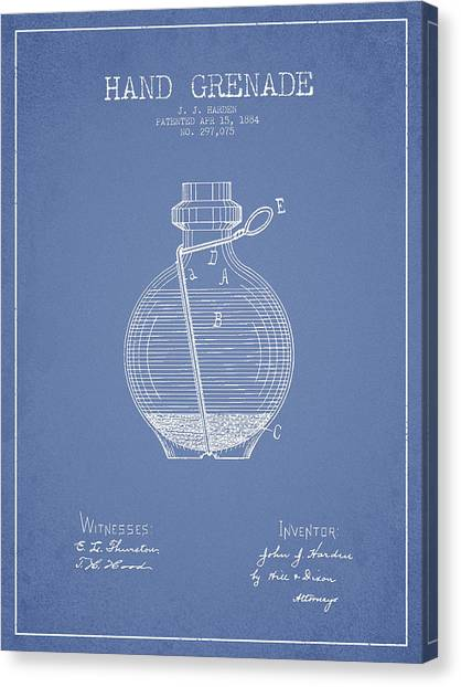 Grenades Canvas Print - Hand Grenade Patent Drawing From 1884 - Light Blue by Aged Pixel