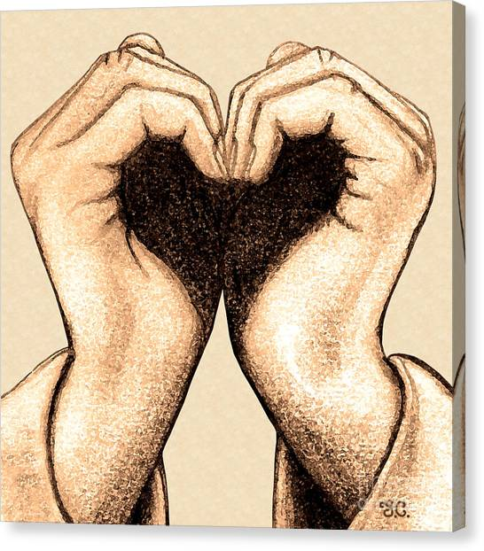 Love Canvas Print - Hand Heart by Jaison Cianelli