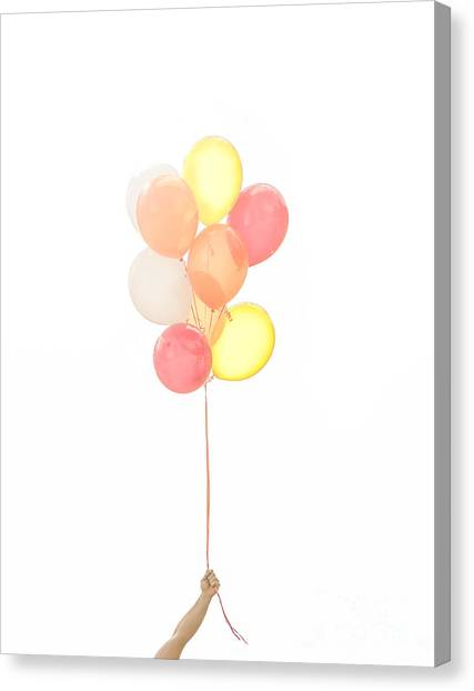 Happy Birthday Canvas Print - Hand Holding Balloons by Diane Diederich