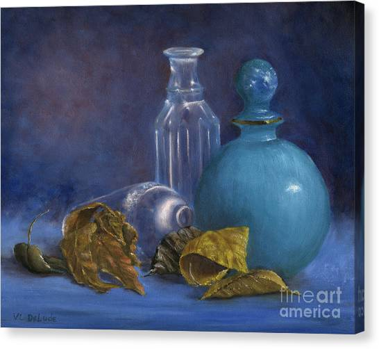 Hand Painted Still Life Bottles Leaves Canvas Print