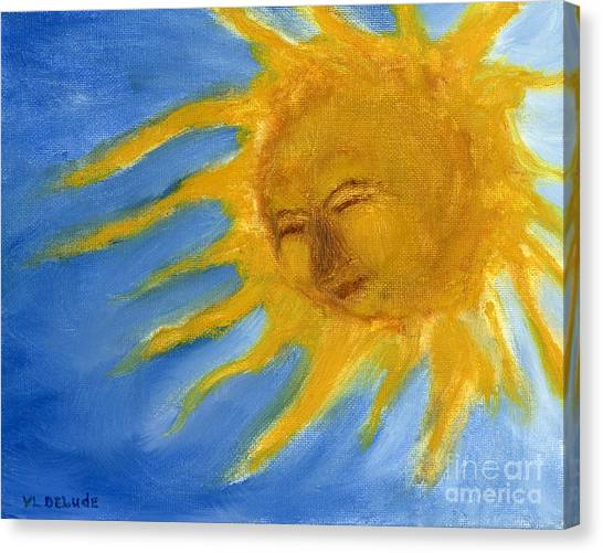 Hand Painted Sun Face Old Sol Canvas Print