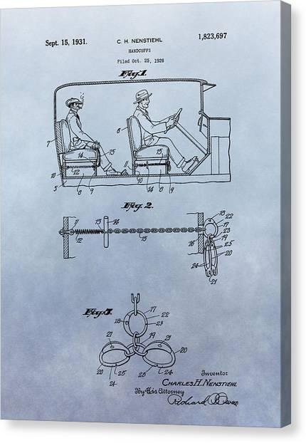 Dea Canvas Print - Handcuffs Law Enforcement Patent by Dan Sproul