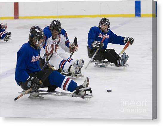 Handicapped Ice Hockey Players Canvas Print