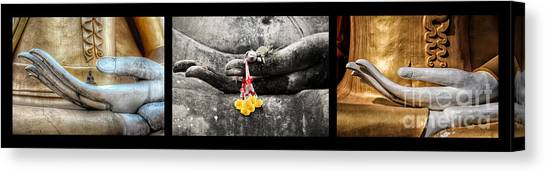 Temple Canvas Print - Hands Of Buddha by Adrian Evans