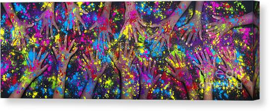 Boy And Girl Canvas Print - Hands Of Colour by Tim Gainey