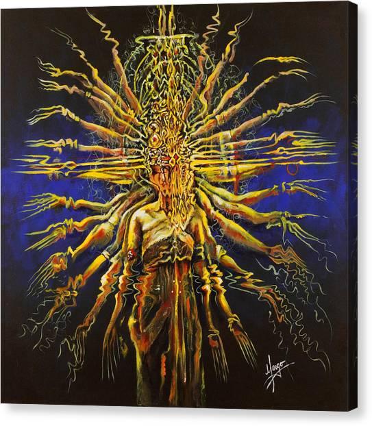 Hindu Goddess Canvas Print - Hands Of Compassion by Karina Llergo