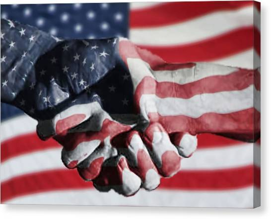 Handshake Melded With American Flag Canvas Print by Sherry H. Bowen Photography