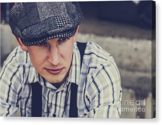 Braces Canvas Print - Handsome Fashionable Man In Vintage Apparel by Jorgo Photography - Wall Art Gallery