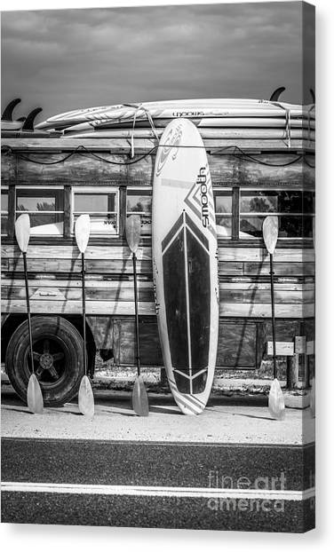 Surfboard Canvas Print - Hang Ten - Vintage Woodie Surf Bus - Florida - Black And White by Ian Monk