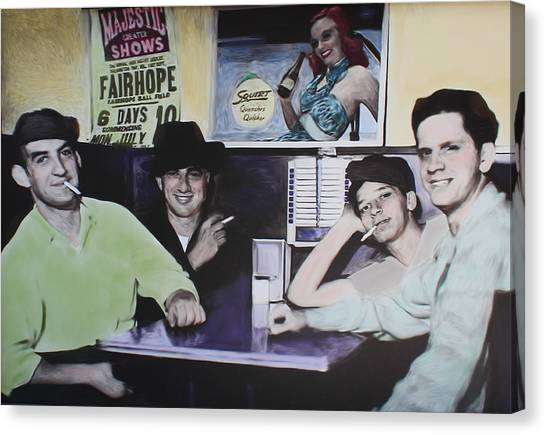 Hanging At The Diner 1949 Canvas Print