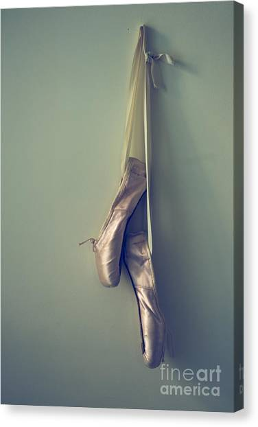 Ballet Shoes Canvas Print - Hanging Ballet Slippers by Diane Diederich