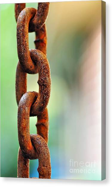 Chain Link Canvas Print - Hanging Chain Before Pastel Bokeh by Kaye Menner