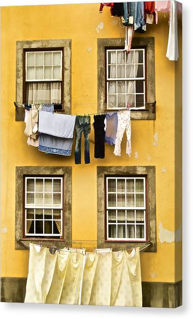 Hanging Clothes Of Old World Europe Canvas Print