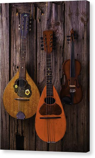 Mandolins Canvas Print - Hanging Instruments by Garry Gay