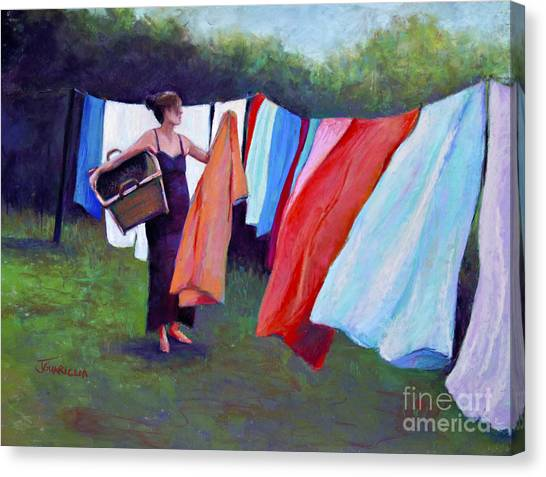 Hanging Laundry Canvas Print by Joyce A Guariglia