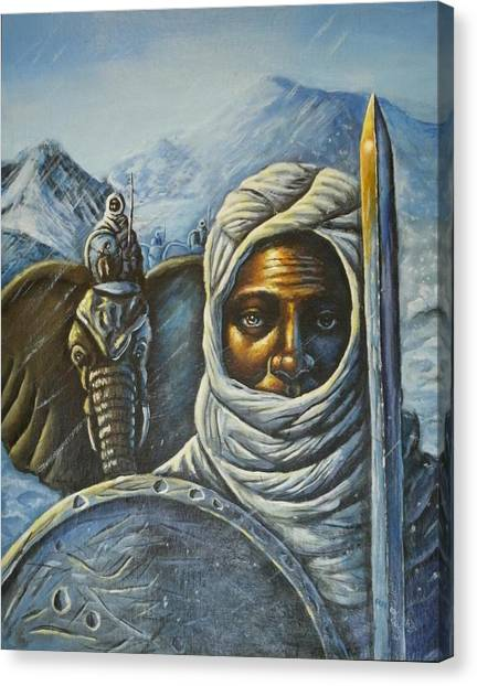 Hannibal Crossing The Alps Canvas Print by Barbara Gray