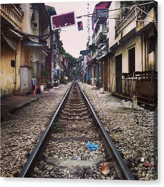 Law Enforcement Canvas Print - #hanoi #vietnam #railway #traintracks by Darren O' Dea