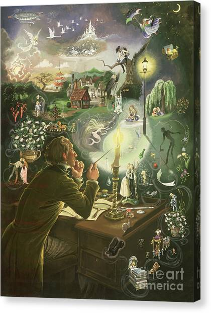 Imagination Canvas Print - Hans Christian Andersen by Anne Grahame Johnstone