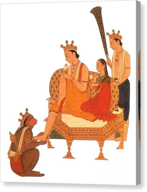 Incarnation Canvas Print - Hanuman Worshipping Rama by Photo Researchers