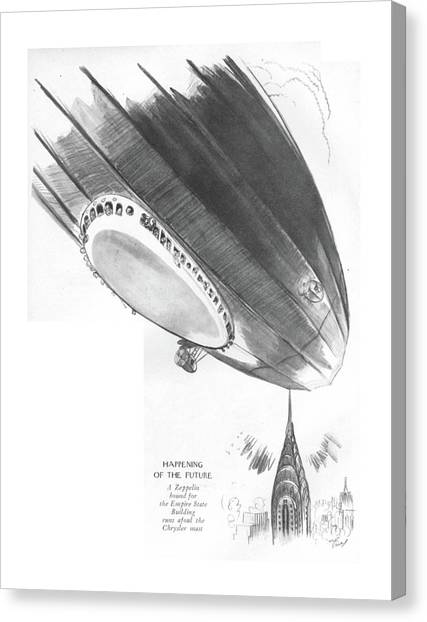 Blimps Canvas Print - Happening Of The Future A Zeppelin Bound by Garrett Price
