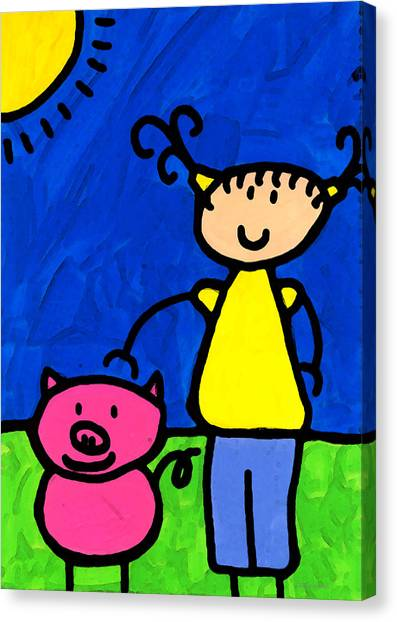 Elementary School Canvas Print - Happi Arte 1 - Girl With Pink Pig Art by Sharon Cummings