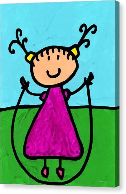 Elementary School Canvas Print - Happi Arte 7 - Girl On Jump Rope Art by Sharon Cummings