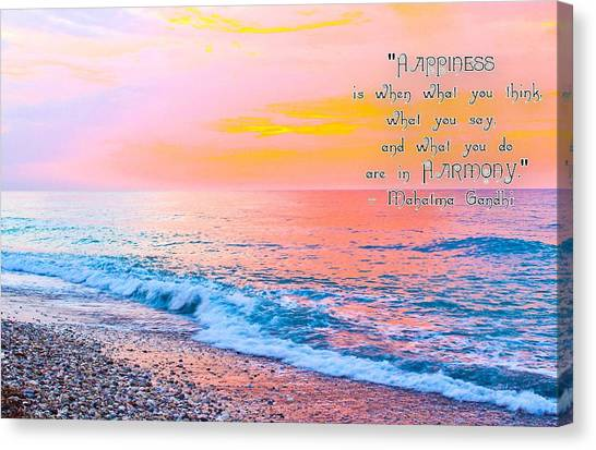 Happiness Quote Mahatma Gandhi  Canvas Print