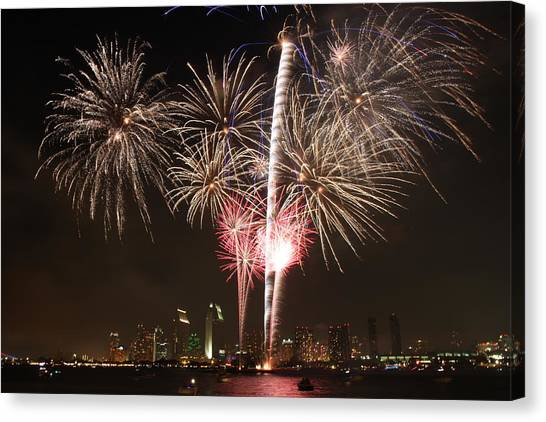 Happy 4th Of July From San Diego Canvas Print