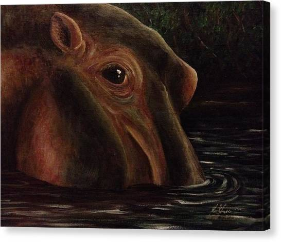 Happy As A Hippo Canvas Print