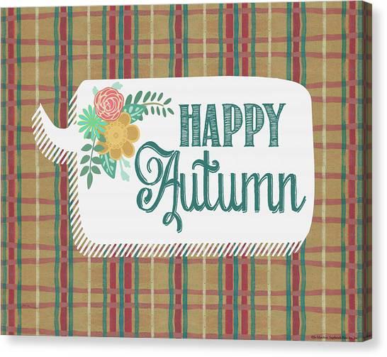 Plaid Canvas Print - Happy Autumn by Jo Moulton