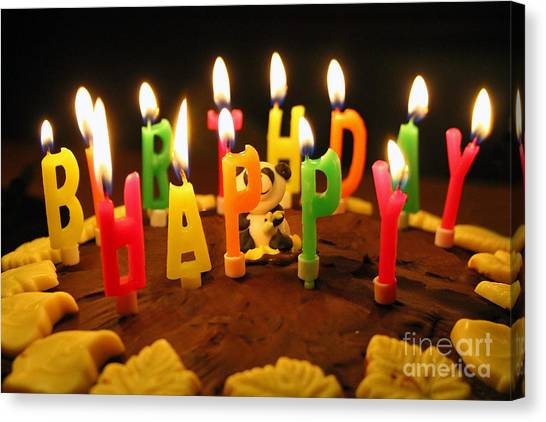 Happy Birthday Canvas Print - Happy Birthday Candles by Lars Ruecker