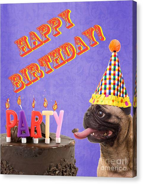 Pug Canvas Print - Happy Birthday Card by Edward Fielding