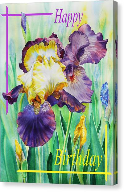 Happy Birthday Canvas Print - Happy Birthday Iris Flower by Irina Sztukowski