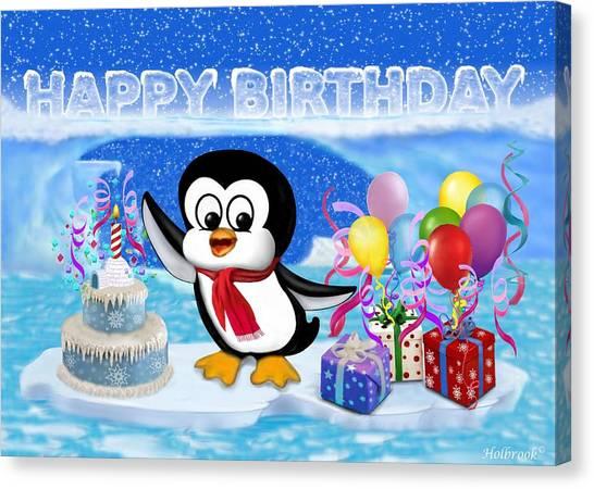 Happy Birthday Penguin Canvas Print