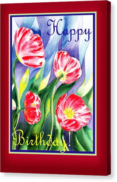 Happy Birthday Canvas Print - Happy Birthday Pink Poppies by Irina Sztukowski