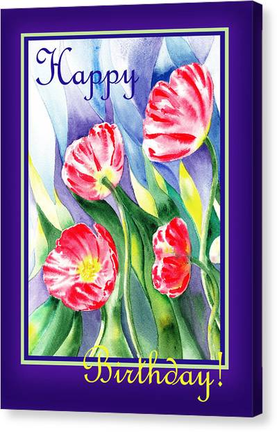 Happy Birthday Canvas Print - Happy Birthday Poppies by Irina Sztukowski