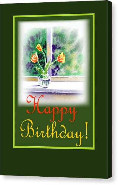 Happy Birthday Canvas Print - Happy Birthday Tulip Bunch by Irina Sztukowski